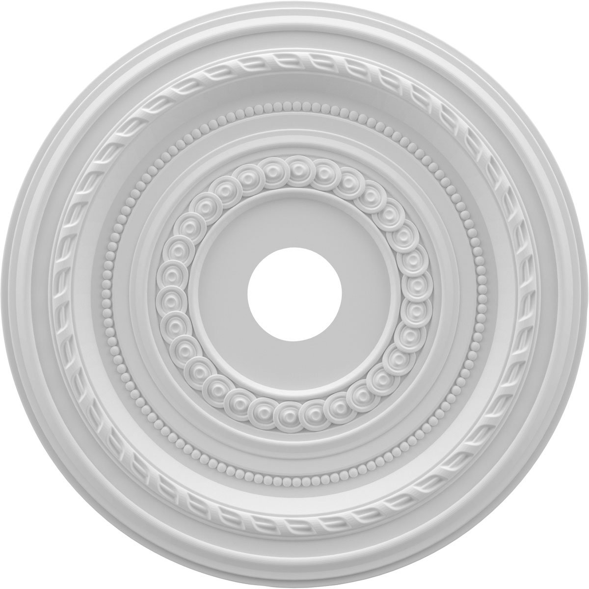 Ekena Millwork CMP22CO Cole Medallion Thermoformed Pvc Ceiling, 22'' OD x 3 1/2'' ID x 1'' P, White