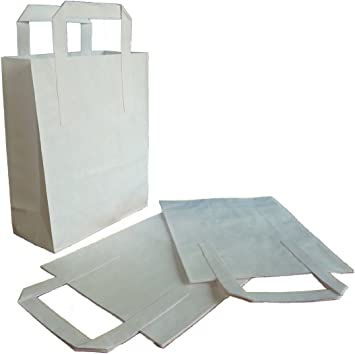 Thali Outlet - 250 x White Small SOS Kraft Paper Bags - Tape Handle Carrier For Indian Chinese Takeaways by Thali Outlet Leeds: Amazon.es: Hogar