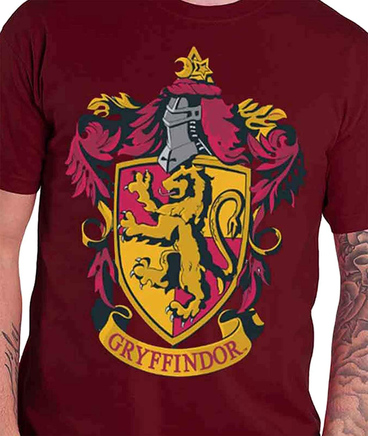 HARRY POTTER T Shirt Gryffindor House Crest Official Mens New Red