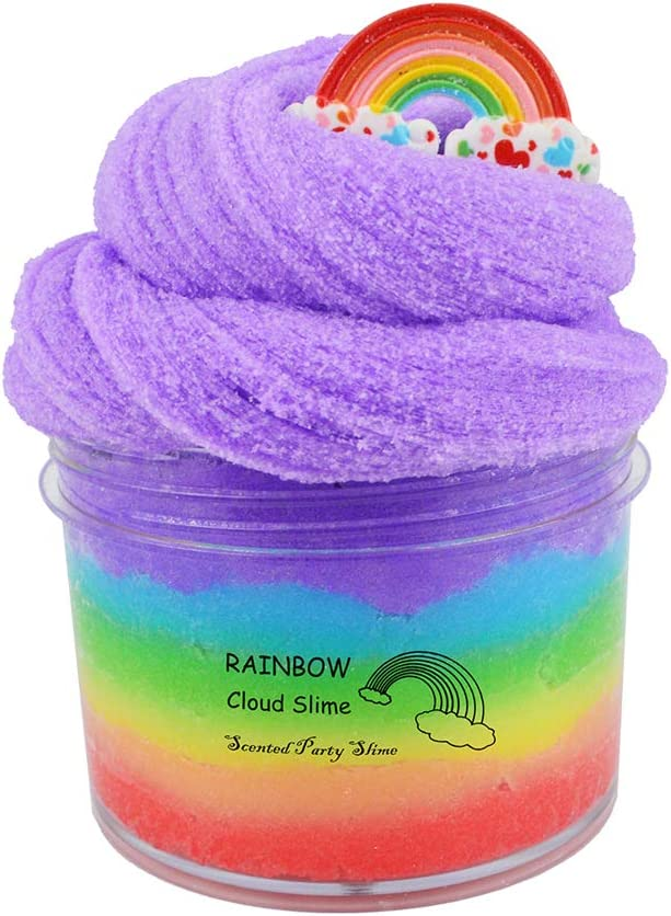 ICHICHI Rainbow Cloud Slime,Non-Sticky and Super Soft Scented Slime,Stress Relief Toy