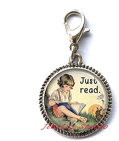 teachers gift book lovers jewelry Just Read book Locket Necklace readers gift readers Locket Pendant-HZ00362 bookworm gift book Locket Pendant librarian gi ft