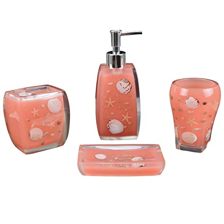 pale pink bathroom accessories. AIMONE 4 Pieces Resin Bathroom Accessories Set Complete  Soap Dish Lotion Dispenser Toothbrush Amazon com
