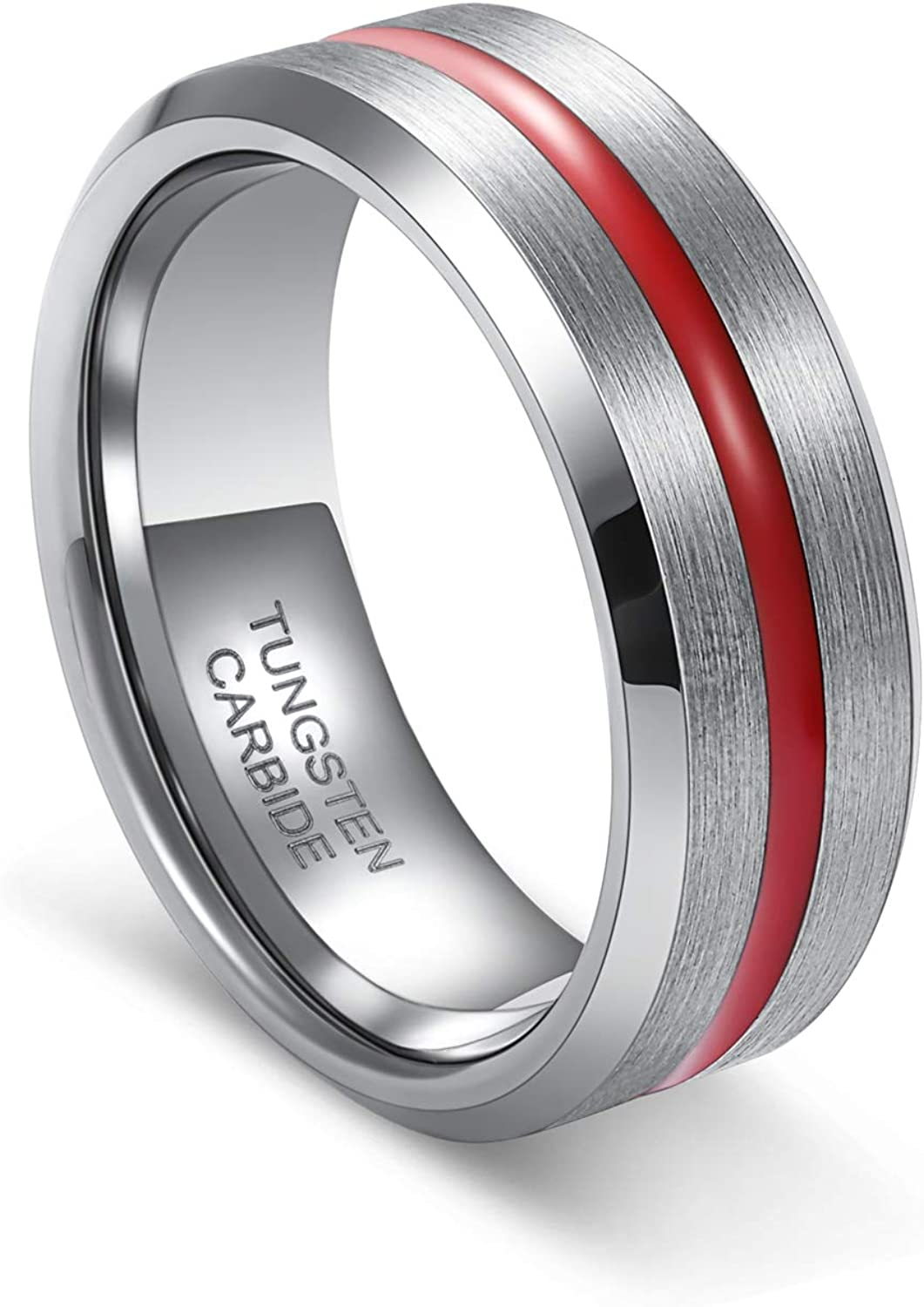 TUSEN JEWELRY Mens Tungsten Ring with Thin Red Groove Brushed Wedding Band