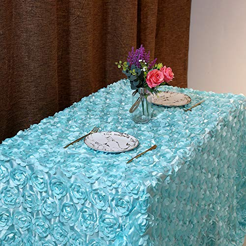 QueenDream 90 x132 Inches Baby Blue Rosette Fabric 3D Rosette Tablecloth for Wedding Baby Shower and Festival Decoration