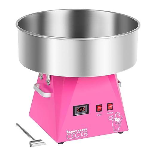Royal Catering RCZK-SET5 Máquina de Algodón de Azúcar Algodonera Industrial con Carrito (1.030 W, Ø 52 cm, 1 Unidad / 30 s, 52 x 52 x 46.5 cm) Rosa: ...