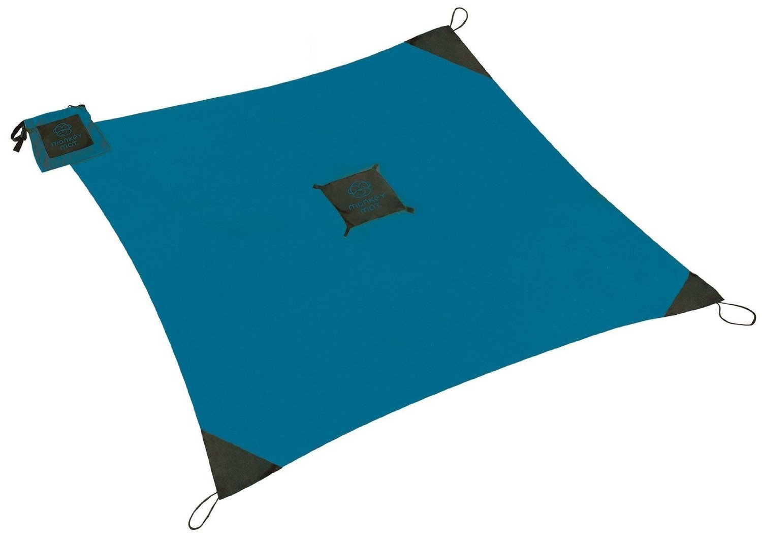 MONKEY MAT Portable Lightweight Indoor/Outdoor 5'x5' Water/Sand Repellent Blanket with Corner Weights & Loops in Compact Pouch (Blue Yonder)