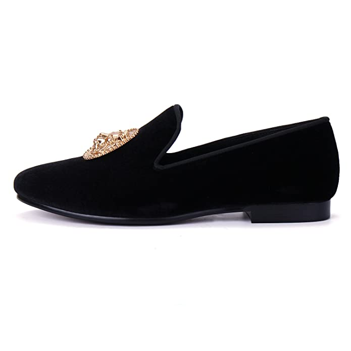 Amazon.com | Animal Buckle Men Dress Shoes Handmade Velvet Loafer Slippers | Loafers & Slip-Ons