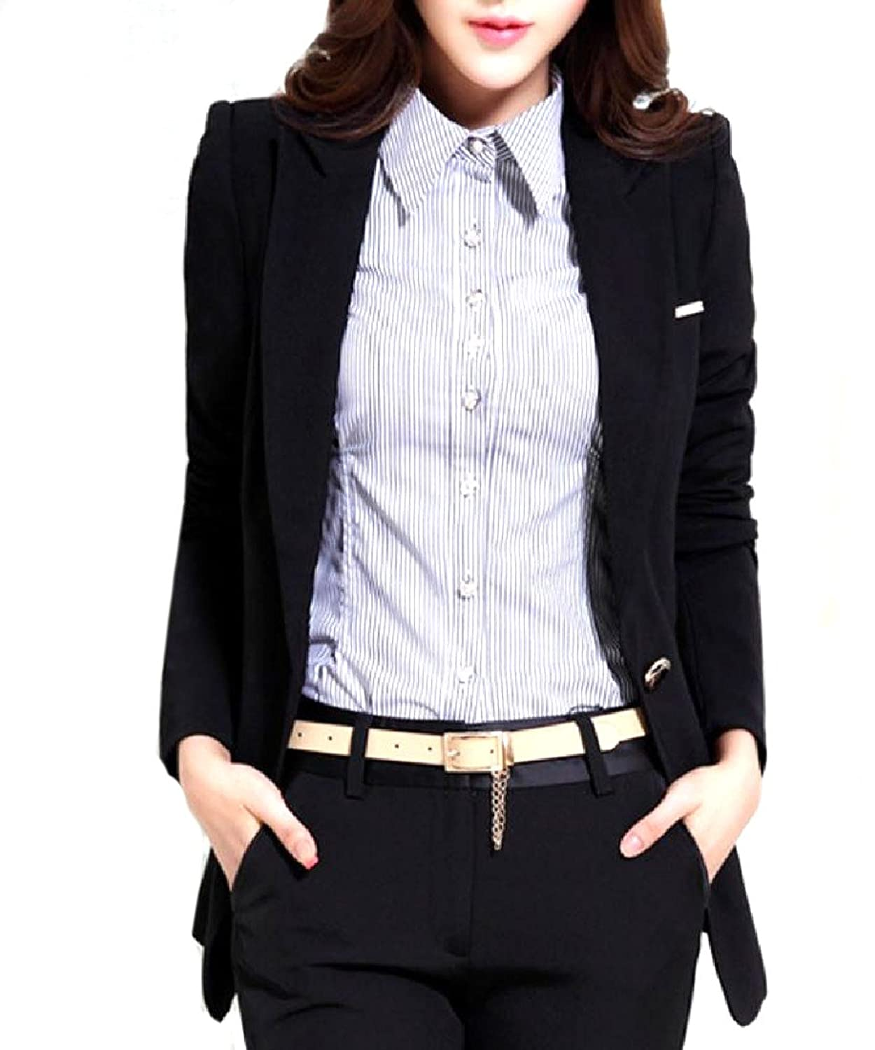 Abetteric Womens Longline Center Vent Custom Fit All-Match Suit Coat