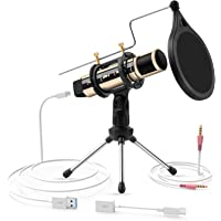 USB-microfoon, ZealSound-Condensator Kleine Microfoon with Stand Plug & Play-microfoon voor Smartphone, PC, Laptop, MAC…