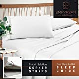 Empyrean Bedding 4-Piece King Bed Sheet Set with Corner Straps on Extra Deep Pocket and Sleep Guide, White