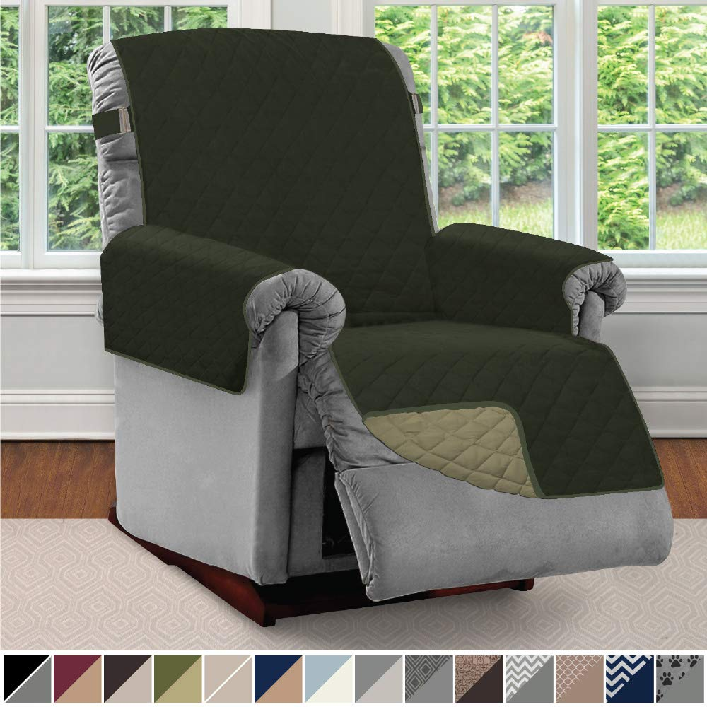 Sofa Shield Original Patent Pending Reversible Recliner Slipcover, 2 Inch Strap Hook Seat Width Up to 28 Inch Washable Furniture Protector, Slip Cover for Pets, Kids, Recliner, Hunter Green Sage