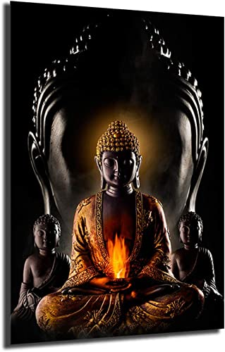 God Buddha Vintage Poster Minimalist Art Canvas Print Wall Office Picture Modern Home Room Wall Decoration Framed,24x36inch