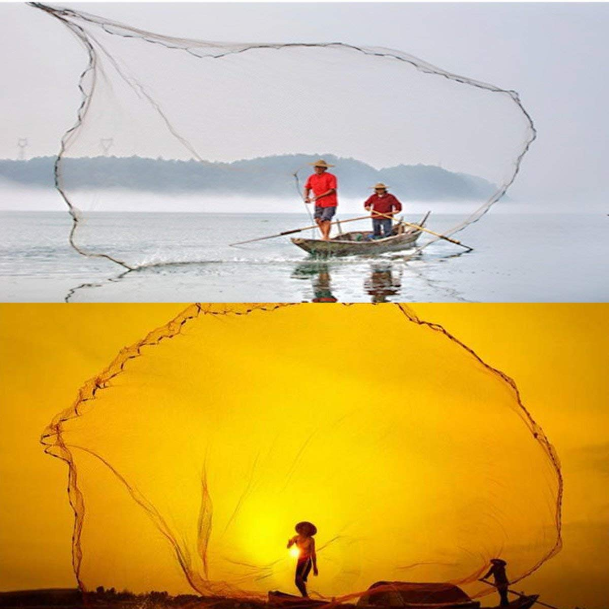 Persei American Saltwater Fishing Cast Net for Bait Trap Fish 4//5//6//7//8//9//10//11//12-Feet Radius Mesh Size 1//2inch 49 Feet Braided Hand line