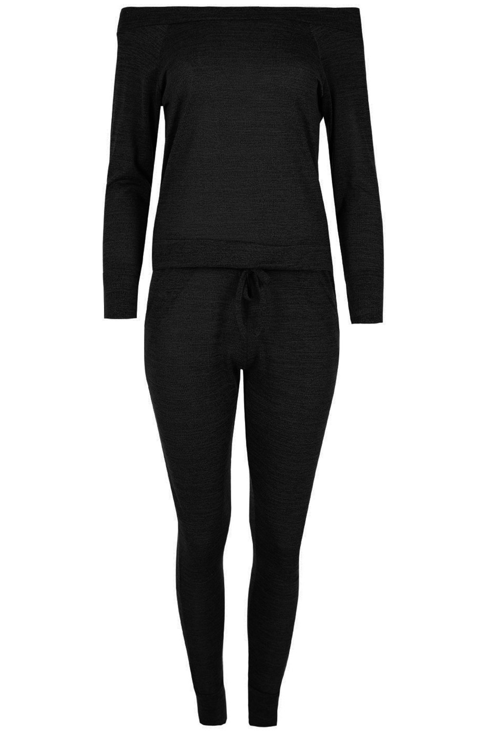 Be Jealous Womens Off The Shoulder Tracksuit Ladies Bardot Marl Knitted Pocket Legging Jog Suit Oversized Baggy Top Loungewear Set Plus Size 8-22