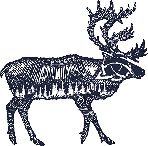 Black And White Illustration - Beautiful Mountain Forest Inside Outline Of A Moose Vinyl Decal Sticker (4