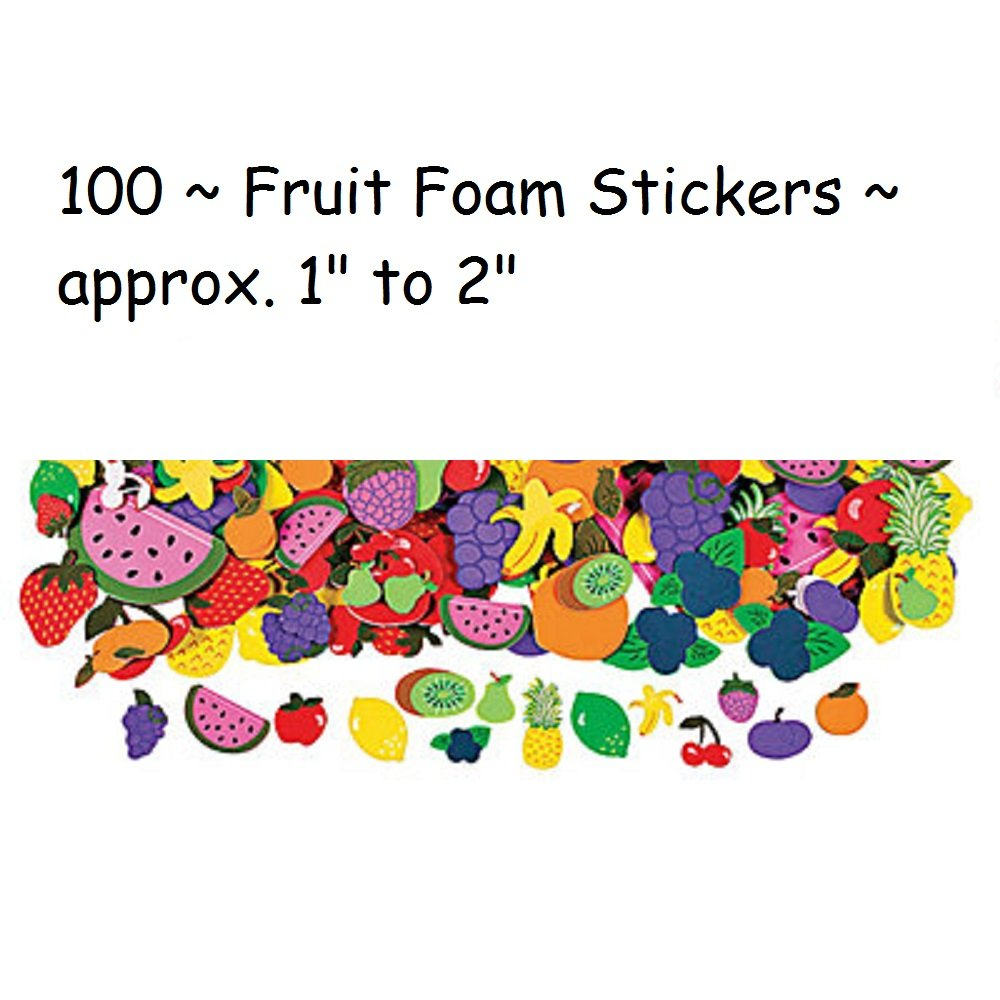 "100 ~ Foam Fruit Stickes / Shapes ~ Approx. 1"" to 2"" ~ New"