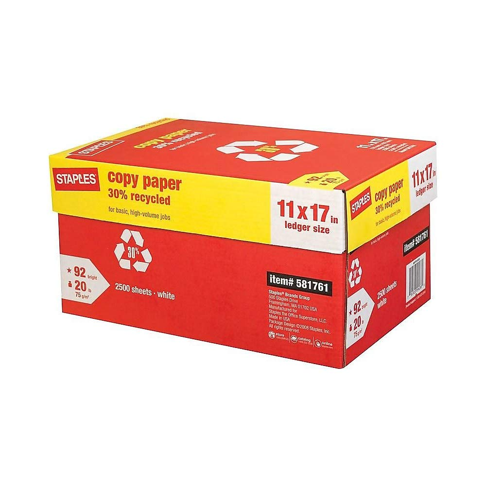 Staples 581761 30% Recycled 11-Inch x 17-Inch Copy Paper 20 lbs 92 Brightness 500/RM 5 RM/CT