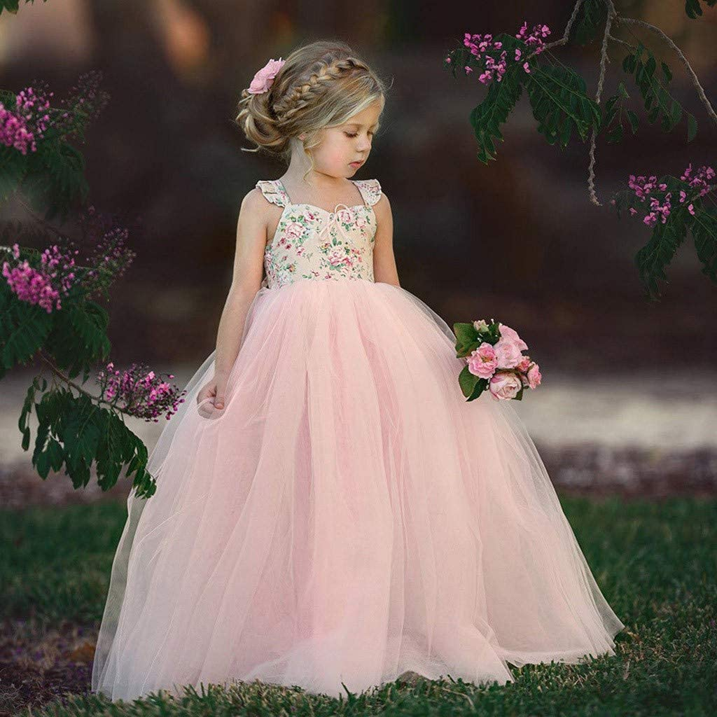 Elegant Children Kids Girls Sleeveless Bridesmaid Wedding Dress 1-7T Floral Print Gauze Birthday Party Gown Ball