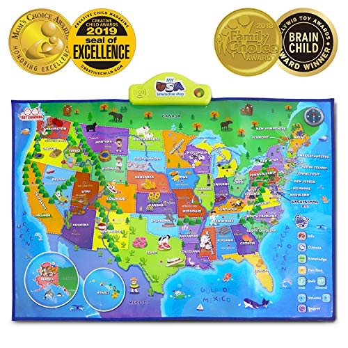 BEST LEARNING i-Poster My USA Interactive Map - Educational Talking Toy for Kids of Ages 5 to 12 Years (The Best Toy In The World 2019)