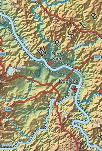 Reliefkarte Rheinland Pfalz Saarland 1 250 000  Mit Reliefdarstellung  Gebietskarten Rheinland Pfalz
