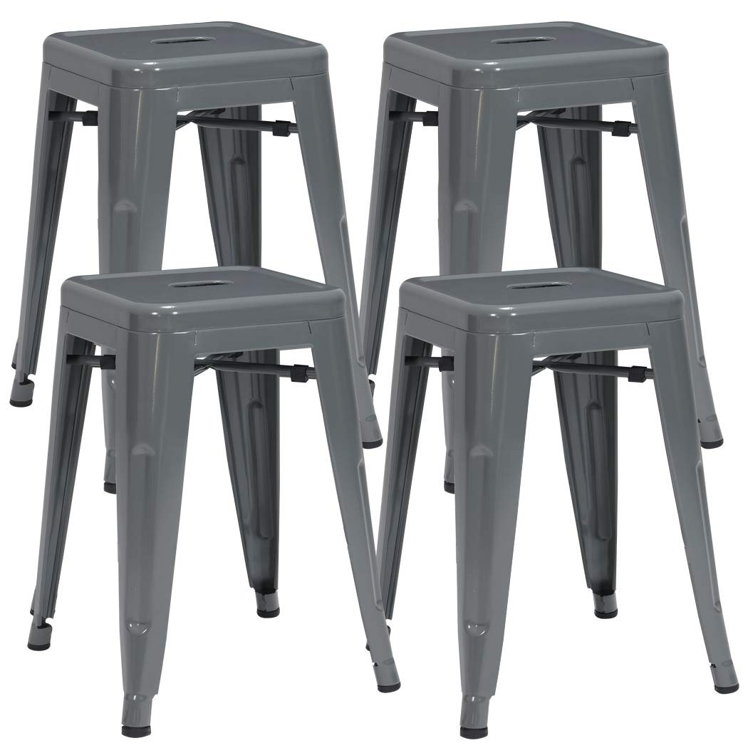 Duhome 4 pcs 18'' Metal Chairs Tolix Style Dining Stools Indoor Outdoor Restaurant Cafe Industrial Design (Grey) by Duhome Elegant Lifestyle