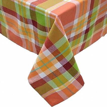 Celebrate Fall Autumn Plaid Tablecloth Fabric Table Cloth 60x84 Ob