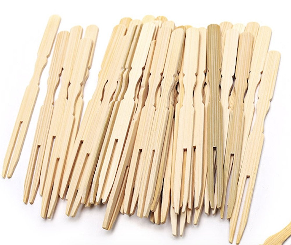 1000 PCS 3.9 Inch Bamboo Mini Forks for Party Buffet Catering Cocktail (1000)