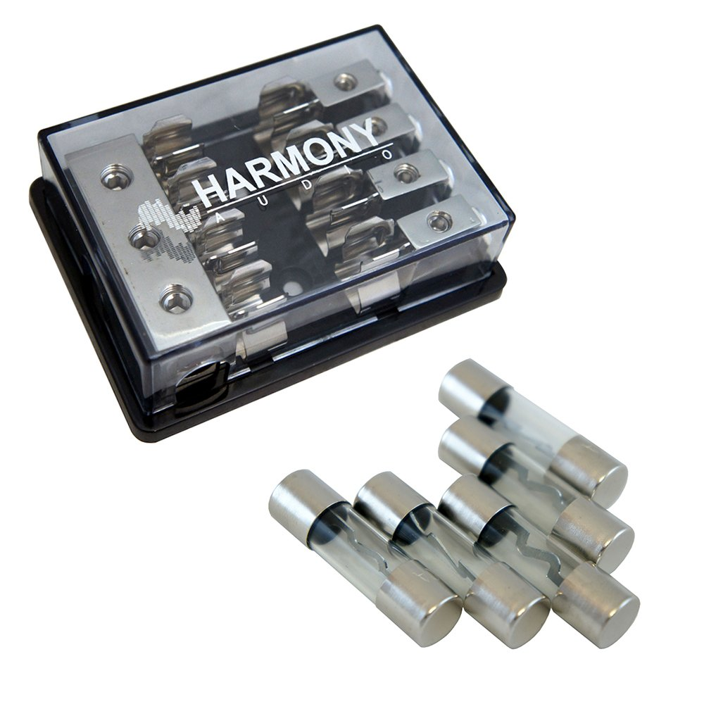 Harmony Audio HA-AGUFD4 Car 4-Way AGU Fused Distribution Block & 60 Amp Fuses