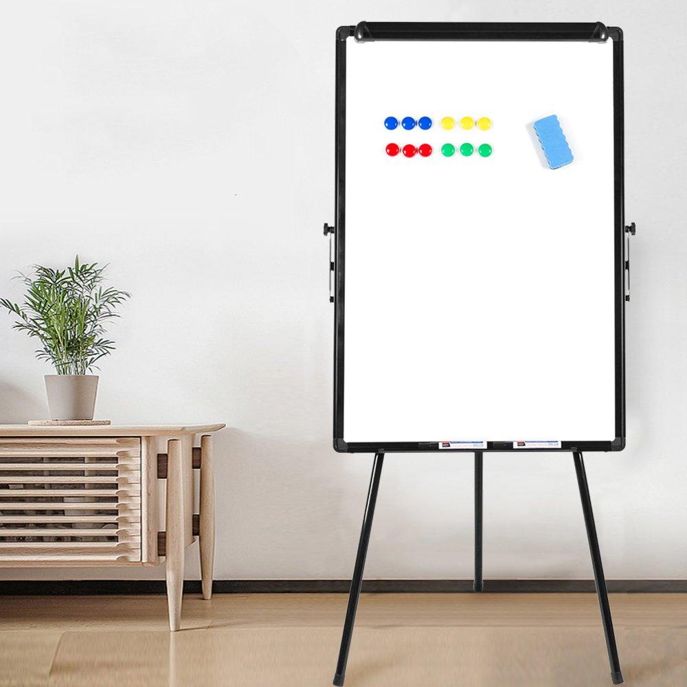 Hepburn's Magnetic Tripod Whiteboard Dry Erase Board Flipchart Easel - Height Adjustment Standing Whiteboard (Whiteboard, 36 x 24) 36 x 24) Hepburn' s