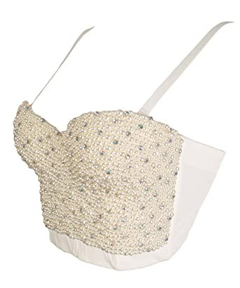83117cbba0 GainKee Hand-Made Pearls Bustier Bra Corset Top Bralet Clubwear Cropped Top  Vest