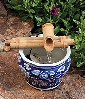 Bamboo Fountain with Pump Sman 7 Inch Three Arm Style, Indoor or Outdoor Fountain, Natural, Split Resistant Bamboo, Combine with Any Container to Create Your Own Fountain, Handmade