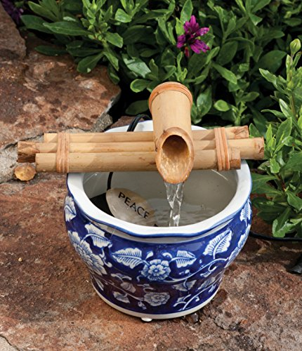Bamboo Accents Zen Garden Water Fountain Spout, Complete Kit includes Submersible Pump for Easy Install, Handmade Indoor/Outdoor Natural Bamboo (Three Arm Design - 7 Inches)