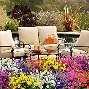 YOSICHY Artificial Fake Flowers, 4 Bundles Outdoor UV Resistant Greenery Shrubs Plants for Outside Hanging Planter Home Kitchen Office Wedding Garden Decor(Orange Red) 4