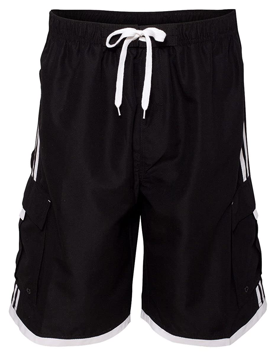 0b58b404f8c8e Amazon.com: Burnside Mens Swim Striped Board Shorts-B9401: Clothing