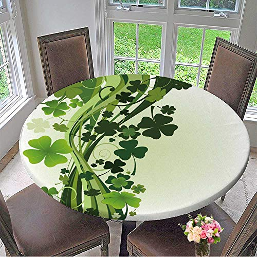 Mikihome Premium Tablecloth Design for St Patrick's Day with Four and Three Leaf Clovers Everyday Use 43.5