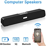 Computer Speakers, Bluetooth Speakers Computer Sound Bar, USB Powered Multifunctional Home Theater Desktop Soundbar Speaker with 10W Dual-Driver Stereo Sound, Rich Bass, 3 ft Bluetooth Range
