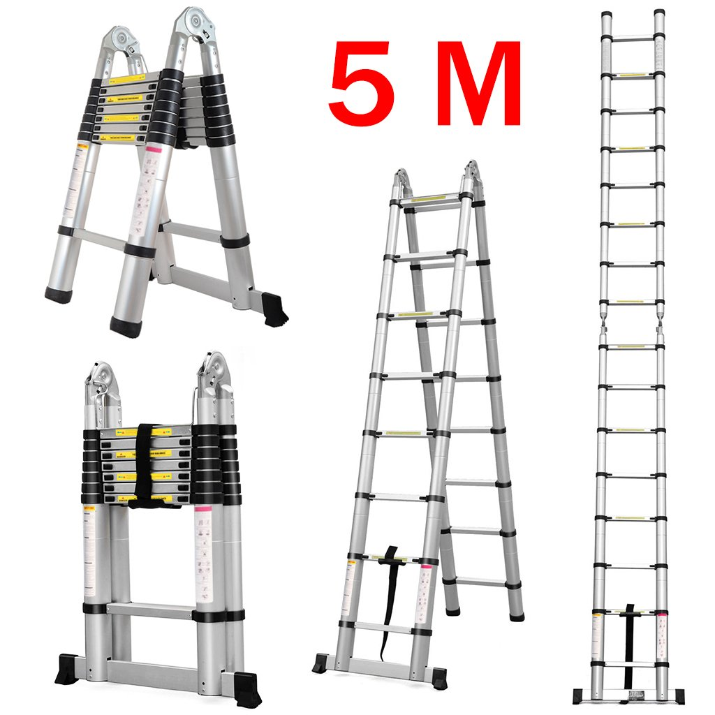 Finether 5M Telescopic Ladder: Aluminium Telescoping Extension Ladder Multi-Purpose Folding A-Frame Step Ladder Portable 150 kg Load Capacity for Home Loft Office