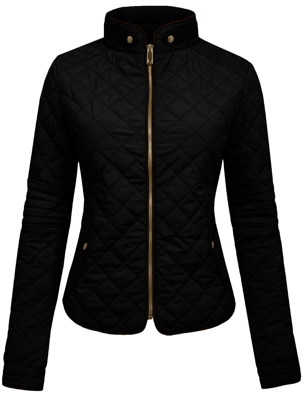 NE PEOPLE Womens Lightweight Quilted Zip Jacket, Large, NEWJ22BLACK