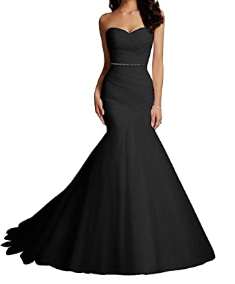 Victoria Prom Womens Tulle Mermaid Wedding Dresses Bridal Dress Wedding Gowns with Crystal Sash Black us2