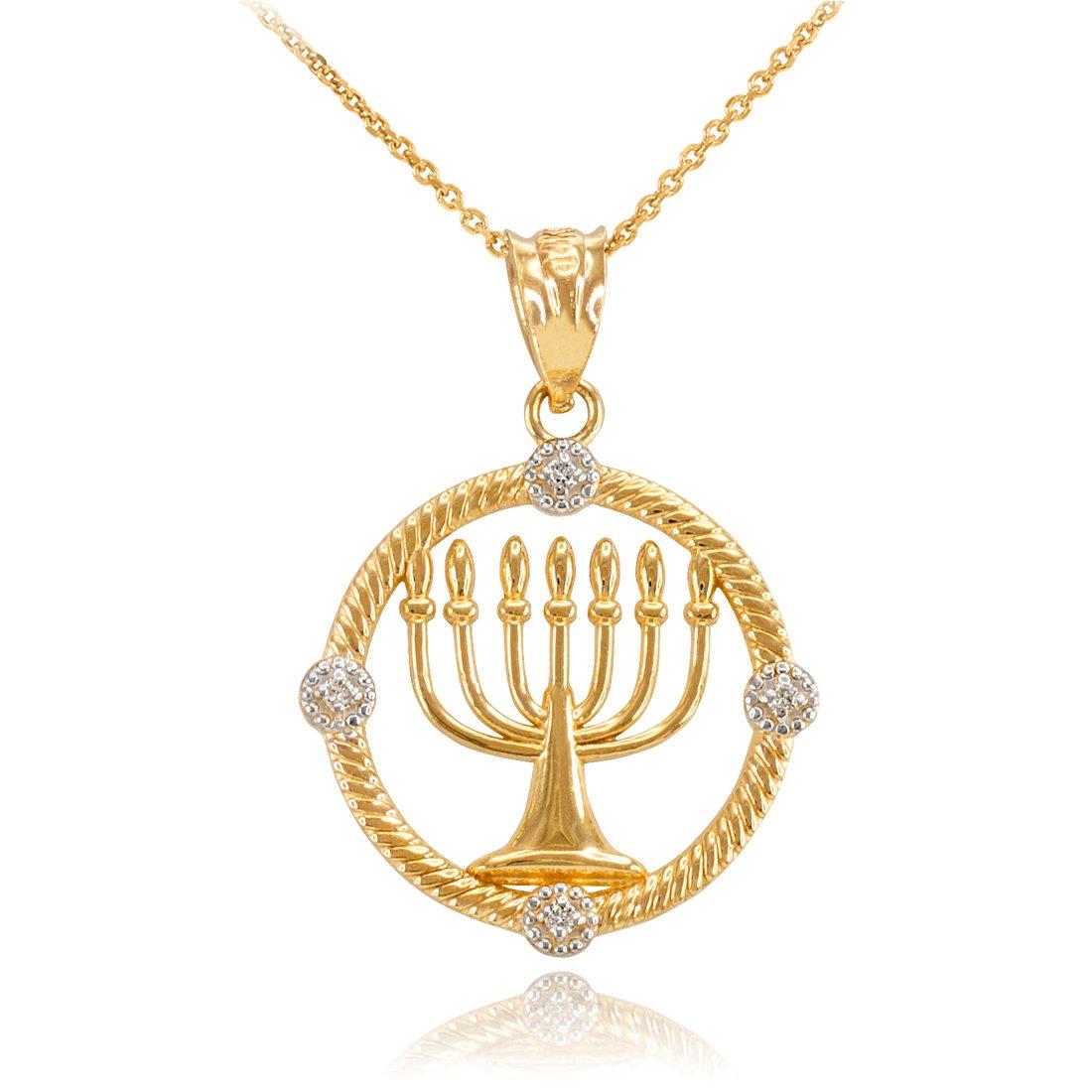 14K Yellow Gold Jewish Menorah Diamond Pendant Necklace (22)
