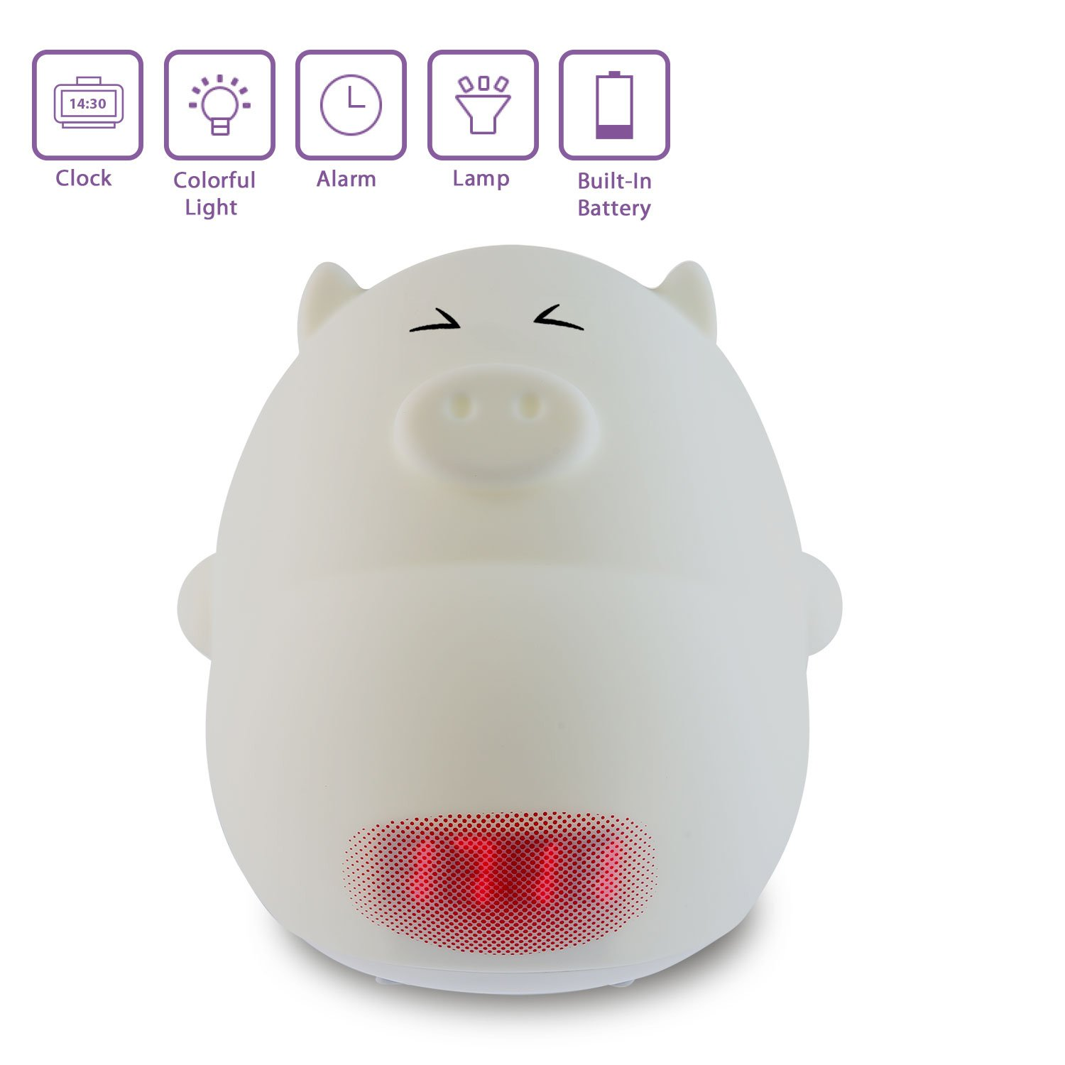 Cute Alarm Clock Night Light,Umiwe Silicone Cartoon Lamp for Kids -3 Sounds, 7 Colors, Tap Control, Temperature Display (Pig C)