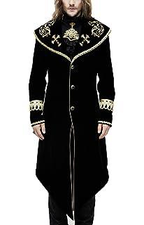 Devil Fashion Manteau Homme Long en Velours Noir avec Broderies et galons  dorés, élégant Aristocrate 6f04ea2d4767