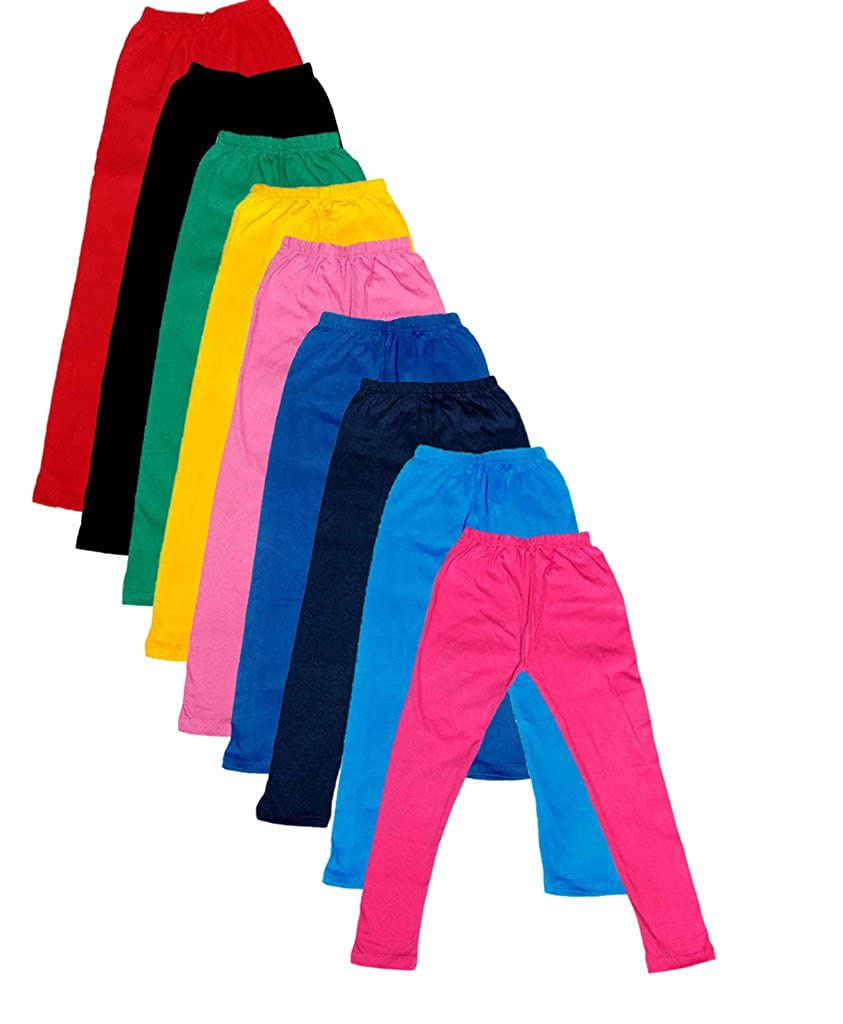 -Multiple Colors-9-10 Years Pack of 9 Indistar Big Girls Cotton Full Ankle Length Solid Leggings