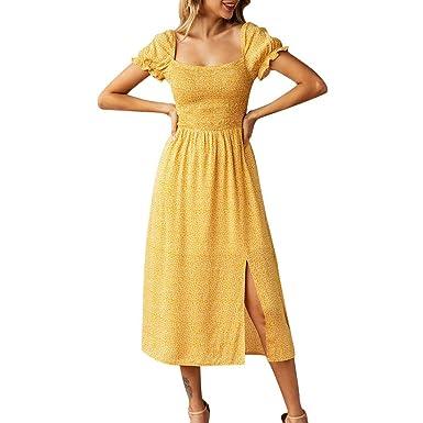 Vestidos para Mujer,Mujeres Sólido Color Mangas Corta ...