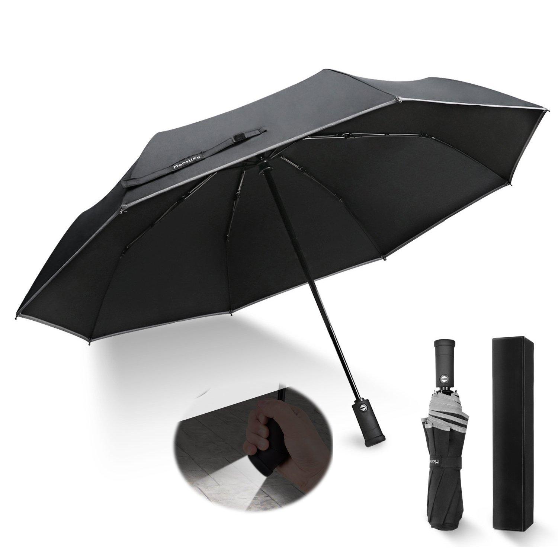 Monstleo LED Flashlight Umbrella, Compact Travel Umbrella,Fully-Automatic Folding Umbrella with Rotating Led Lighting Handle (Black)