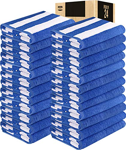 Utopia Towels Cabana Stripe Beach Towels Bulk (30 x 60 Inches) - Large Pool Towels