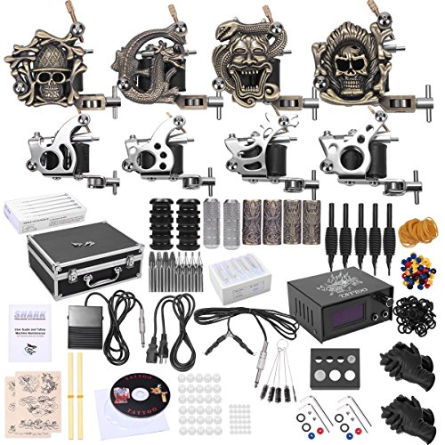 Shark® Complete Pro Tattoo Kit 8 Gun Machines Carry Case With Key Power Supply 50 Needles 8 Grips Tips