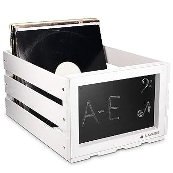 Navaris Caja de madera para almacenar discos de vinilo - Cajón para guardar vinilos con pizarra integrada - Organizador para 66 LPs en blanco