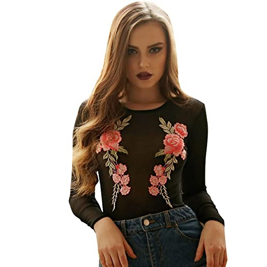 8d5332805b4 Amazon.com  Sexy Club Overalls Ladies Bodysuit Women Overalls Bodycon Long  Sleeve Embroidered Floral Sheer Mesh Leotard Jumpsuit  Clothing