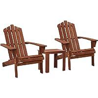 Gardeon Outdoor Sun Lounge Beach Chairs Table Setting Wooden Adirondack Patio Chair Brwon